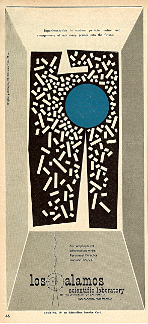 Artwork: Blue Spot by Oli Sihvonen. Advertisement: LASL in Missiles and Rockets, 5 October 1959