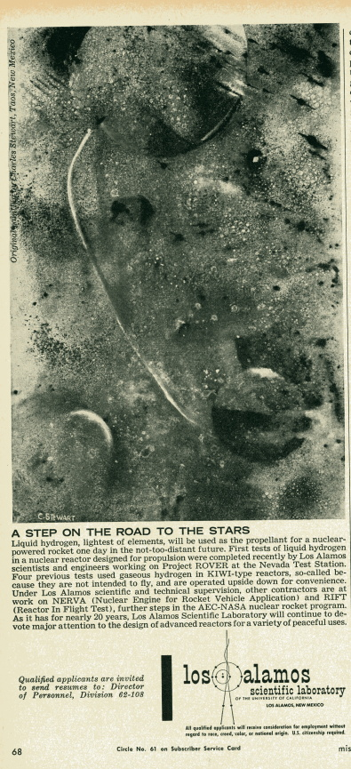 Artwork: Space by Charles Stewart. Advertisement: LASL in Missiles and Rockets, 26 Nov., 1962